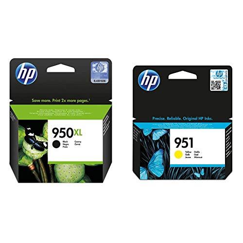 HP 950XL CN045AE Negro, Cartucho de Alta Capacidad Original, de 2.300 páginas, para impresoras + 951 CN052AE, Amarillo, Cartucho de Tinta Original, de 700 páginas, para impresoras