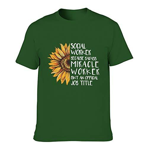 COMBON Shop Social Worker T-Shirt für Herren, Humor, Sarcasm Gr. L, Dunkelgrün 001.
