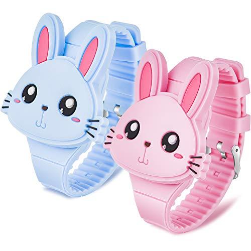 Title: 2 Piezas Relojes de Conejo Reloj Pulsera de Dibujos Animados de Conejo LED Reloj Digital Clamshell