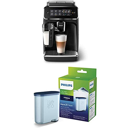 Philips 3200 Series Fully Automatic Espresso Machine with LatteGo, Black, EP3241/54 with Philips Saeco AquaClean Filter Single Unit, CA6903/10