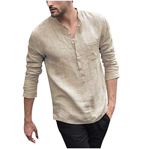 CYGGA Herren Hemd Langarmshirt Leinenshirt aus Baumwollmischung Kragenloses Regular Fit Freizeit Leicht Sommer Leinenhemd für Männer Freizeithemd