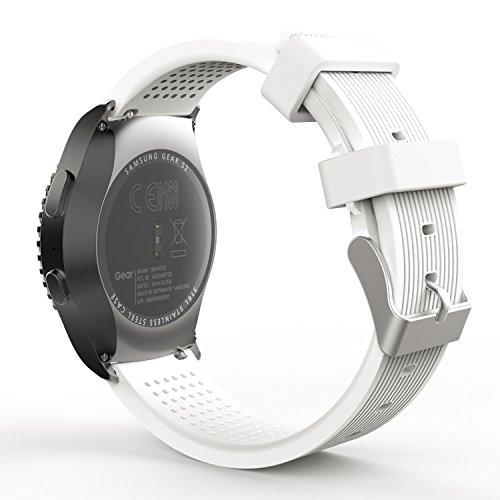 MoKo Armband Kompatibel mit Huawei Watch GT 2 42mm/Galaxy Watch 42mm/Galaxy Watch 3 41mm/Galaxy Watch Active/Active 2/Garmin Vivoactive 3, 20mm Silikon Sportarmband Erstatzband Uhrenarmband, Weiß