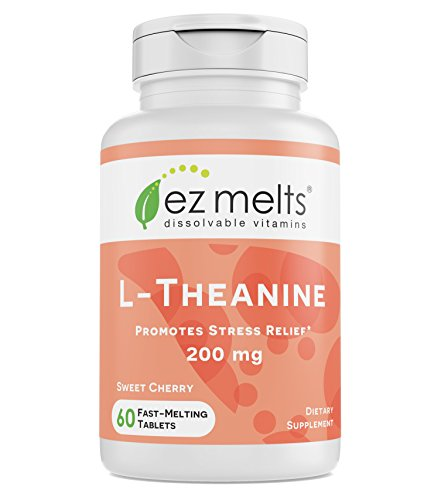 EZ Melts L-Theanine, 200 mg, Sublingual Vitamins, Vegan, Zero Sugar, Natural Cherry Flavor, 60 Fast Dissolve Tablets