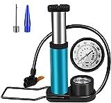 Bomba de pie para bicicleta, compatible con válvulas Schrader Presta Mini portátil de aleación de aluminio para bicicletas de montaña, BMX, pelotas deportivas, juguetes inflables, etc.
