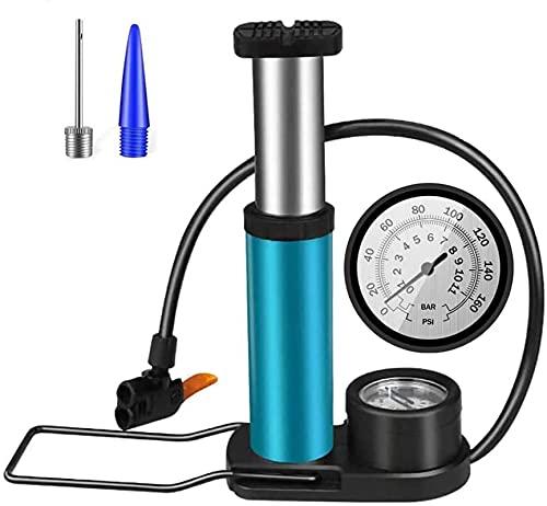 Fahrrad Pumpe Fußpumpe Kompatibel mit Schrader Presta Ventile Mini Tragbar Fahrradreifenpumpe aus Aluminiumlegierung für Mountainbikes BMX-Bikes/Sportbälle/aufblasbares Spielzeug usw