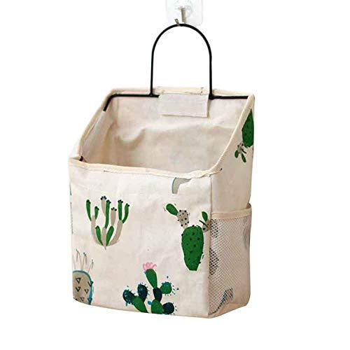 Bolsa de almacenamiento colgante con bolsillo lateral para guarderías en la pared para ahorrar espacio en el hogar, revistero de baño, impresión plegable de cocina con mango (2)