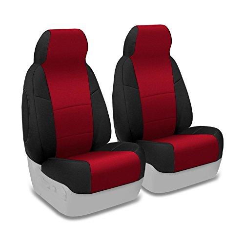 Coverking Custom Fit Front 50/50 High Back Bucket Seat Cover for Select Chevrolet Corvette Models - Neoprene (Red with Black Sides)