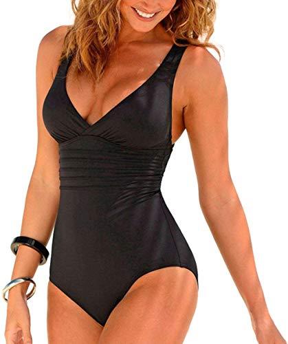 CKMKSA Damen Badeanzug Bauchweg Puch Up Große Größen One Piece Figurformend Schwimmanzug Strandmode Bademode XXL B6-Schwarz