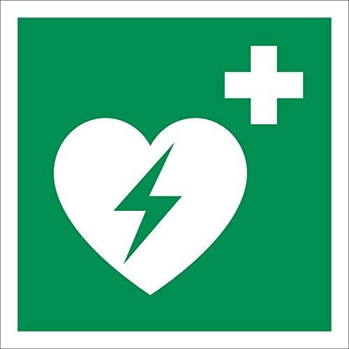 AED Rettungszeichen Rettungswegschild Aufkleber Nachleuchtend ASR A1.3 200 x 200 mm