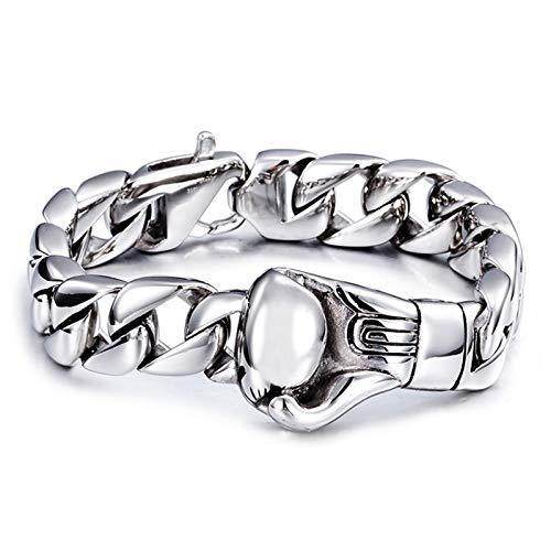 Daesar Edelstahl Armband für Frauen Freundschaftsarmband Boxhandschuh Panzerkette 15 MM Silber Damen Armband Charms 22CM