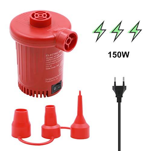 Tuomico Elektrische Luftpumpe mit 3 Düsen Schnellfüllpumpe Entlüfterpumpe für Luftmatratze, Schwimmbecken schwimmt, Schwimmringe Spielzeug