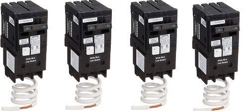 Siemens QF220A Ground Fault Circuit Interrupter, 20 Amp, 2 Pole, 120V, 10,000 AIC, (4)