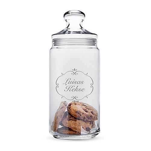 """Casa Vivente - Keksglas mit Gravur und Deckel – """"Vintage Romantisch"""" – Personalisiert mit [Namen] – Keksdose – Vorratsglas – lustige Geschenkidee zum Geburtstag"""