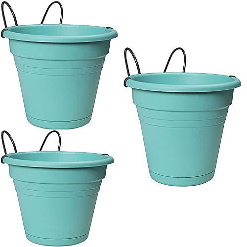 esto24 3er Set Hängetopf aus Kunststoff mit Wasserüberlauf Ø 20 cm, Blumentopf in 6 Farben erhältlich (3X Mint)
