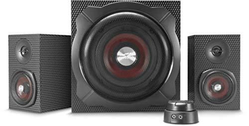 Speedlink GRAVITY CARBON 2.1 subwoofer luidsprekersysteem - 120 W piekvermogen, Bluetooth-verbinding voor smartphone/tablet - zwart
