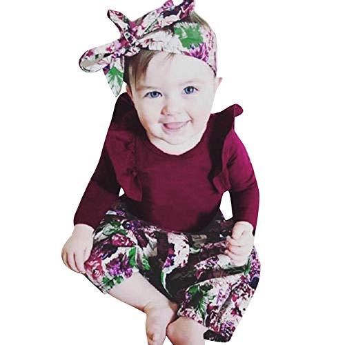 Longra Bébé Filles Manche Longue Barboteuse Col Rond Mignon T-Shirt Haut Pullover Blouse Tops Mode Floral Imprimé Longue Pantalon Et Bandeau Vêtements Tenues(du vinA,3-6Months)