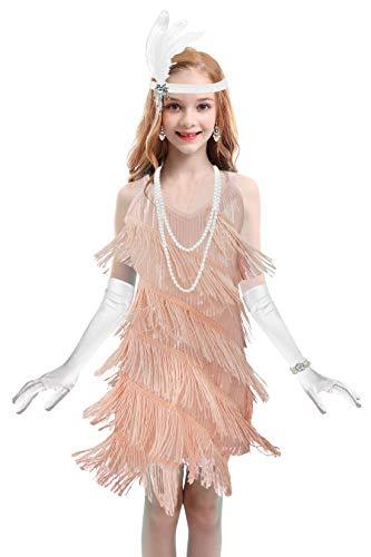 Girls 1920s Flapper Roaring 20s Dress Gatsby Sequin Dance Halloween Fringed Party Dress (Small, Pink)