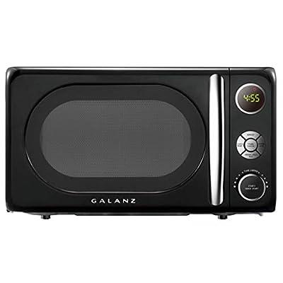 Galanz GLCMKA07BKR-07 Retro Microwave Oven, LED Lighting, Pull Handle Design, Child Lock, 0.7 Cu.Ft, Vinyl Black