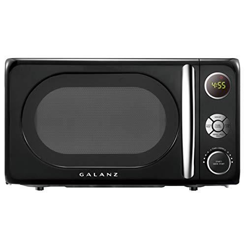 Galanz GLCMKA07BKR-07 Microwave Oven, LED Lighting, Pull Handle Design, Child Lock, Retro, 0.7 Cu.Ft, Vinyl Black