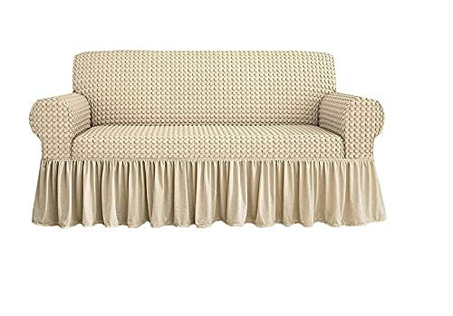 Funda de sofá universal elástica con volante falda, color azul, sillón