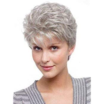 Royalfirst Short Curly Wigs for Women Silver Gray Hair