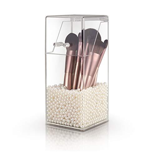 OsiliviA Rangement Maquillage,Organisateur Maquillage,Pot a Pinceau de Maquillage,Pot à Crayons,Rangement Maquillage Transparent avec Perles
