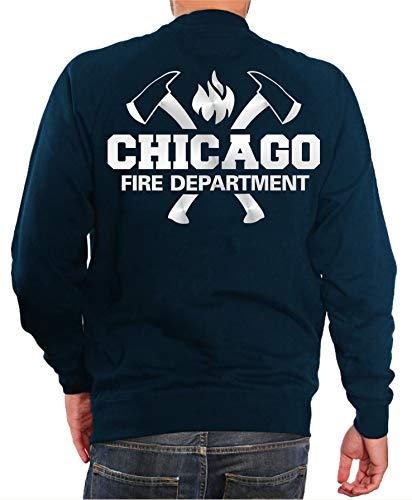 feuer1 Sweatshirt Navy, Chicago Fire Dept. mit Äxten und Standard-Emblem, Silber Edition