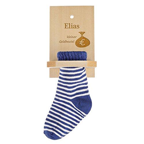 Chaussette d'épargne en couleurs différentes en tilleul avec gravure - bleu