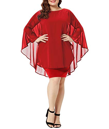 Urchics Womens Casual Chiffon Overlay Plus Size Cocktail Party Knee Length Dress Red XXXL