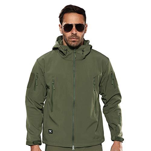 YEVHEV Herren Outdoor Jacken wasserdichte Taktische Mantel Langarm mit Kapuzte und 6 Taschen Militärische Fleecejacken Taktische Militärmantel für Outdoor-Aktivitäten