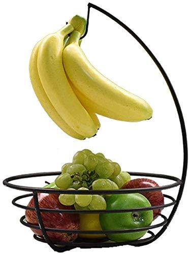 ZWXXQ con Gancho de Banana de Metal Banana Holder Canasta de Frutas para la Superficie de Trabajo Canasta de Frutas práctica para Frutas y verduras-37×27×10cm