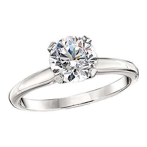 Scermino Gioielli Anello Solitario Oro Bianco con Diamante Naturale E VS1 1 CARATO Certificato