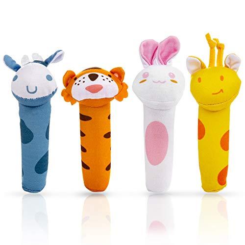 MOOKLIN ROAM 4 Piezas Juguete de Sonajero Muñeca de Peluche, Peluches Suaves de Bebe Sentido Animales Felpa Juguete para 3 6 9 12 Meses Infantil (Jirafa, Tigre, Conejito, Ternero)