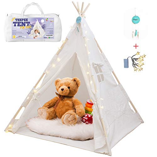 Orian Teepee Tent For Kids - A Fairytale Tipi Tent Kids Love! LED Star Lights, Floor Mat, Dream Catcher, Carry Bag - Strong Indoor Tee Pee Tent - Kids Play Tent for Boys & Girls - Sturdy Children Tent