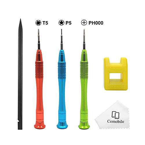 Cemobile Destornillador Kit para MacBook, 1,2 mm P5 Pentalobe destornillador, Torx T5, y destornillador Phillips PH000, kit de herramientas de reparación para MacBook Air y MacBook Pro con Retina