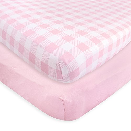 Touched by Nature Unisex Baby and Toddler Organic Cotton Crib Sheet, Plaid Solid Light Pink, One Size