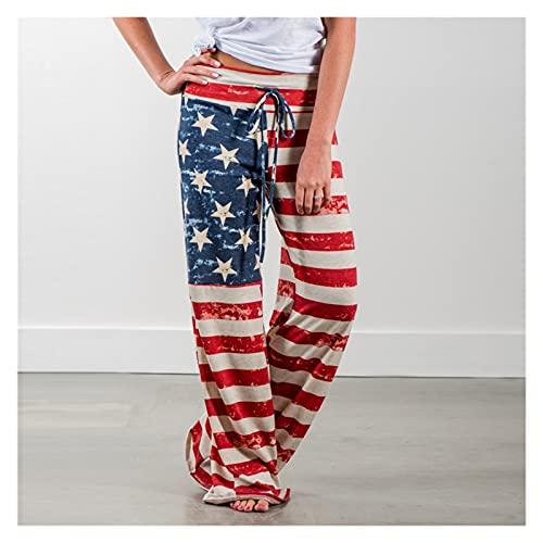 RSBCSHI Pantalones de Pierna Ancha de Cintura Alta, Pantalones de Cordones de Lentes y de Moda para Mujer, en una Variedad de Colores y tamaños (Color : National Flag, Size : Extra E E Large)