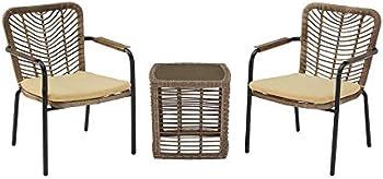 StyleWell Creston Brown 3-Piece Wicker Square Outdoor Patio Bistro Set
