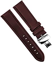 Dura Straps Deployment Clasp Watch Band Push Button Butterfly Pattern Genuine Leather Straps for Men and Women with Elegant Stitches (Brown Stitches,22mm)