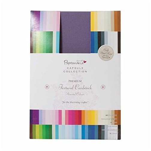 docrafts Papermania Premium Textured Solid Cardstock Pack A4, Multicolor, 75-Pack |