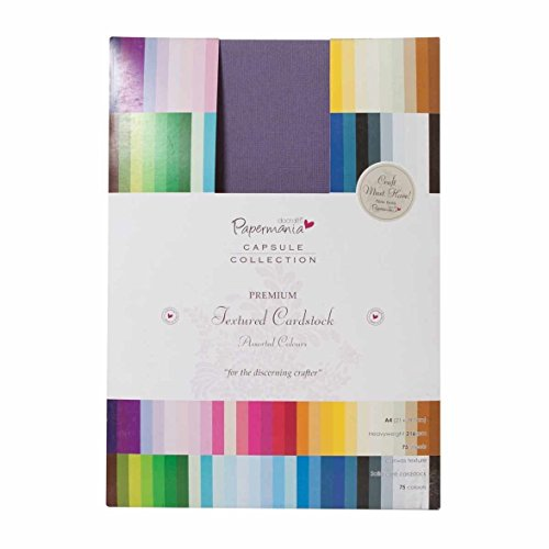 Docrafts A4 Premium Cardstock Textured Capsule, Multicolour (Pack of 75)