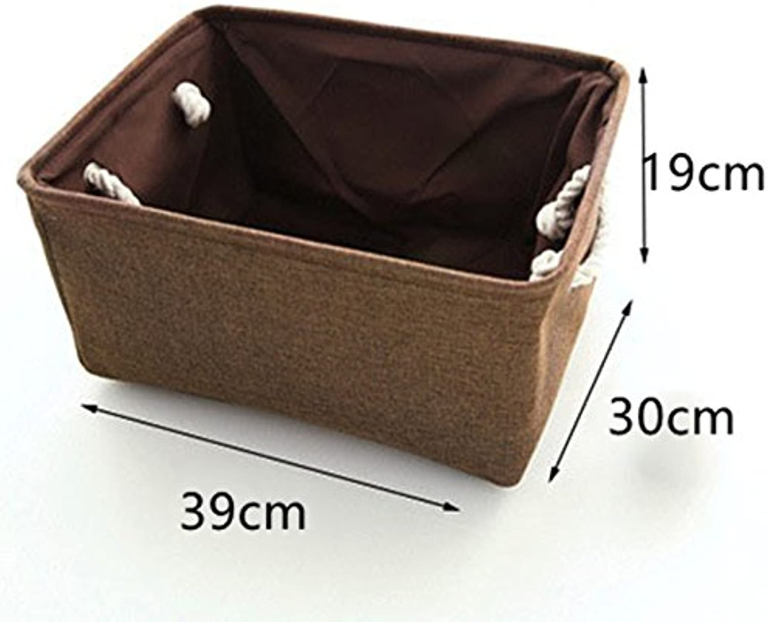 Linen Fabric Clothes Storage Box with Handle Folding Laundry Toy Storage Basket Closet Organizer Household Sundries Sorting Box L Coffee