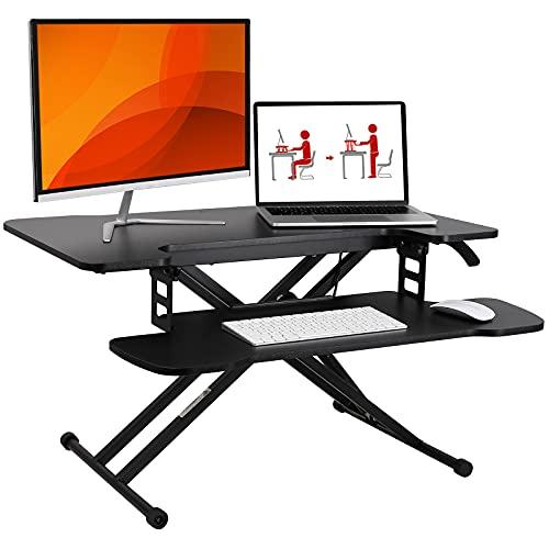 SANODESK Sitz Steh Schreibtisch Stehpult Höhenverstellbarer Schreibtisch 78 * 48cm Schreibtischaufsatz Doppelmonitor-Riser Computertisch(M18M)