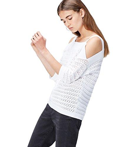 find. Jersey de Crochet con Hombros al Aire para Mujer , Blanco (White), 42 (Talla del Fabricante: Large)