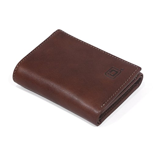 RFID Wallet Italian Leather Trifold with Flap - Top Quality Leather - RFID Blocking Wallets for Men (Dark Brown)