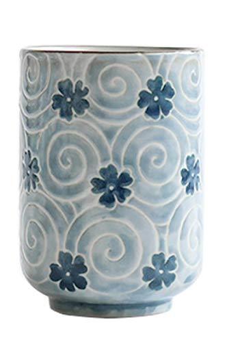 HHGHF Tazas De Té Japonesas Taza De Cerámica Taza De Flores Tradicionales Japonesas Hermoso Diseño Conjunto De 2 Tazas De Té Yunomi De Color 10Oz-Deep_Blue