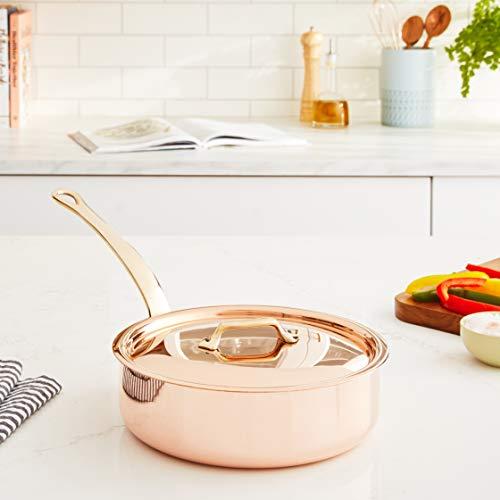 """Mauviel M'Heritage 250B 2.5 mm 1.9 quart 7.9""""/20 cm Copper Saute Pan & Lid, Bronze Handle"""