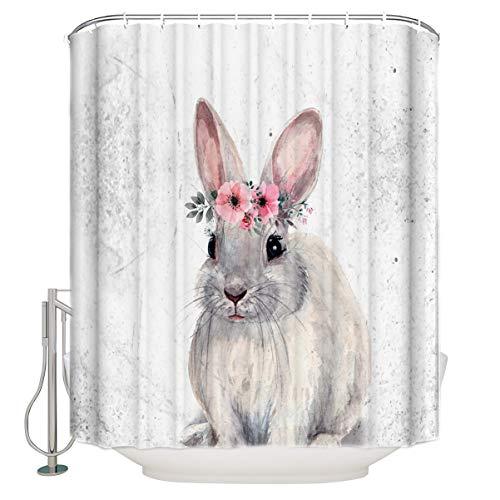 FORHAPPY Duschvorhang Kranzkopf Kaninchen Duschvorhang waschbar dekorative Gardinen für das Badezimmer mit 12 Haken