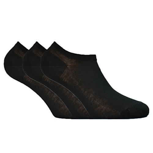 Fontana Calze, 12 paia di calzini fantasmino pariscarpa in 100% Cotone Filo di Scozia nero 36/38