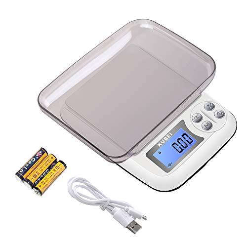 KUBEI Numérique Balance de Cuisine Rechargeable par USB 1kg/0.01g Balance de Alimentaire,PréCision Balance de Poche/Balances de Bijoux/Plateaux de Table de pesée en Acier Inoxydable